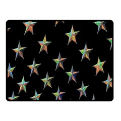 Colorful Gold Star Christmas Double Sided Fleece Blanket (small)