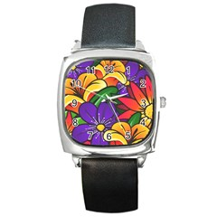 Bright Flowers Floral Sunflower Purple Orange Greeb Red Star Square Metal Watch