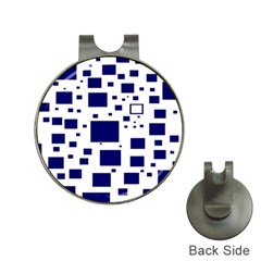Illustrated Blue Squares Hat Clips With Golf Markers