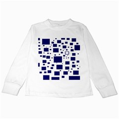 Illustrated Blue Squares Kids Long Sleeve T-Shirts