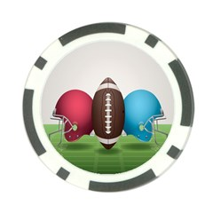Helmet Ball Football America Sport Red Brown Blue Green Poker Chip Card Guard (10 pack)