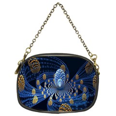 Fractal Balls Flying Ultra Space Circle Round Line Light Blue Sky Gold Chain Purses (two Sides)