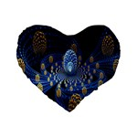 Fractal Balls Flying Ultra Space Circle Round Line Light Blue Sky Gold Standard 16  Premium Heart Shape Cushions Front