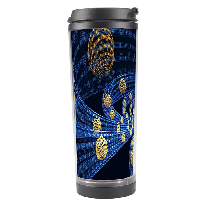 Fractal Balls Flying Ultra Space Circle Round Line Light Blue Sky Gold Travel Tumbler