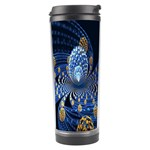 Fractal Balls Flying Ultra Space Circle Round Line Light Blue Sky Gold Travel Tumbler Center