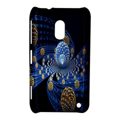 Fractal Balls Flying Ultra Space Circle Round Line Light Blue Sky Gold Nokia Lumia 620