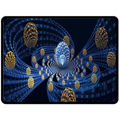 Fractal Balls Flying Ultra Space Circle Round Line Light Blue Sky Gold Double Sided Fleece Blanket (large)