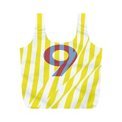 Number 9 Line Vertical Yellow Red Blue White Wae Chevron Full Print Recycle Bags (m)