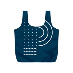 Parachute Water Blue Waves Circle White Full Print Recycle Bags (s)