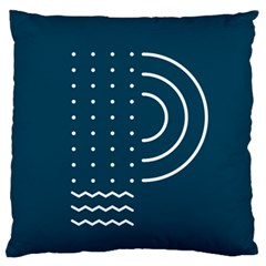 Parachute Water Blue Waves Circle White Large Flano Cushion Case (one Side)