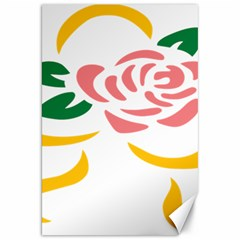 Pink Rose Ribbon Bouquet Green Yellow Flower Floral Canvas 20  X 30