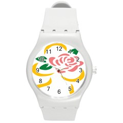 Pink Rose Ribbon Bouquet Green Yellow Flower Floral Round Plastic Sport Watch (m)