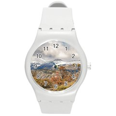 Forest And Snowy Mountains, Patagonia, Argentina Round Plastic Sport Watch (m)