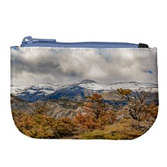 Forest And Snowy Mountains, Patagonia, Argentina Large Coin Purse