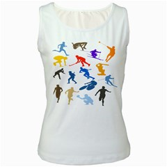 Sport Player Playing Women s White Tank Top