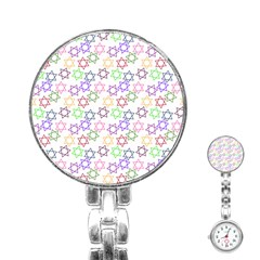 Star Space Color Rainbow Pink Purple Green Yellow Light Neons Stainless Steel Nurses Watch