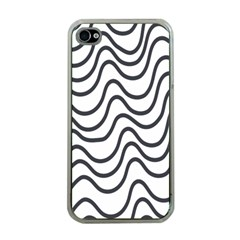 Wave Waves Chefron Line Grey White Apple Iphone 4 Case (clear)