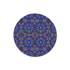 Colorful Ethnic Design Rubber Round Coaster (4 Pack)