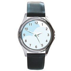 Cloud Sky Blue Decorative Symbol Round Metal Watch