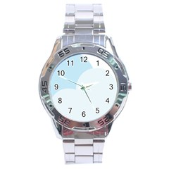 Cloud Sky Blue Decorative Symbol Stainless Steel Analogue Watch