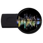 City panorama USB Flash Drive Round (4 GB) Front