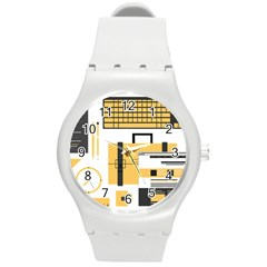 Web Design Mockup Web Developer Round Plastic Sport Watch (M)