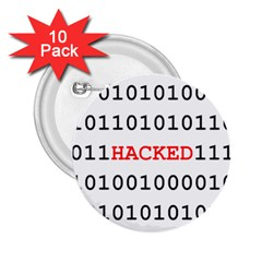 Binary Black Cyber Data Digits 2.25  Buttons (10 pack)