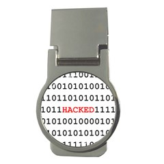 Binary Black Cyber Data Digits Money Clips (round)