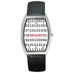 Binary Black Cyber Data Digits Barrel Style Metal Watch