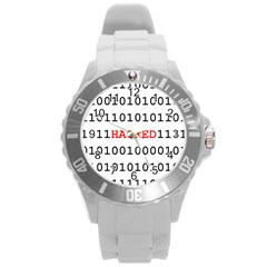 Binary Black Cyber Data Digits Round Plastic Sport Watch (l)