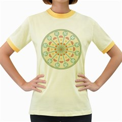 Blue Circle Ornaments Women s Fitted Ringer T Shirts