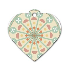 Blue Circle Ornaments Dog Tag Heart (One Side)