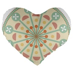 Blue Circle Ornaments Large 19  Premium Flano Heart Shape Cushions