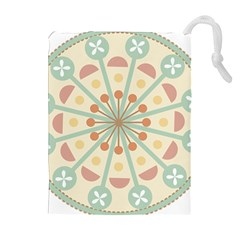 Blue Circle Ornaments Drawstring Pouches (Extra Large)