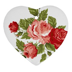 Flower Rose Pink Red Romantic Ornament (Heart)