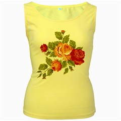 Flower Rose Pink Red Romantic Women s Yellow Tank Top