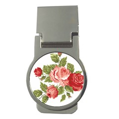 Flower Rose Pink Red Romantic Money Clips (round)