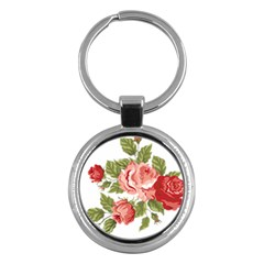 Flower Rose Pink Red Romantic Key Chains (Round)