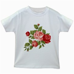 Flower Rose Pink Red Romantic Kids White T Shirts