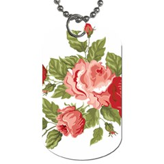 Flower Rose Pink Red Romantic Dog Tag (one Side)