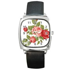 Flower Rose Pink Red Romantic Square Metal Watch