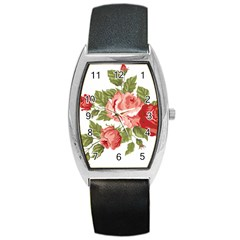 Flower Rose Pink Red Romantic Barrel Style Metal Watch