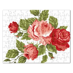 Flower Rose Pink Red Romantic Rectangular Jigsaw Puzzl