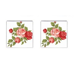 Flower Rose Pink Red Romantic Cufflinks (Square)