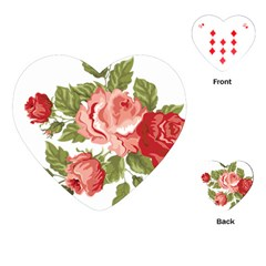 Flower Rose Pink Red Romantic Playing Cards (Heart)