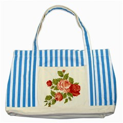 Flower Rose Pink Red Romantic Striped Blue Tote Bag