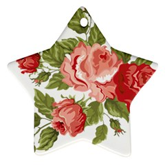 Flower Rose Pink Red Romantic Star Ornament (Two Sides)