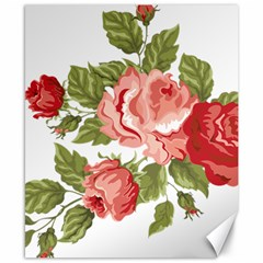 Flower Rose Pink Red Romantic Canvas 8  x 10
