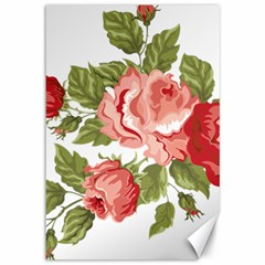 Flower Rose Pink Red Romantic Canvas 12  x 18
