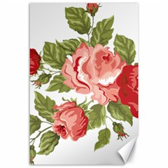 Flower Rose Pink Red Romantic Canvas 24  X 36